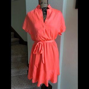 Bright Coral Short Sleeve Dress